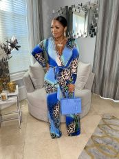 Sexy Leopard Print V Neck Long Sleeve Sashes Jumpsuit JRF-3656