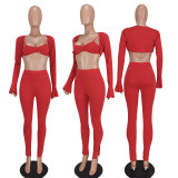 Solid Long Sleeve Coat+Bra Top+Pants 3 Piece Sets YD-8526