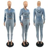 Solid Velvet Hooded Zipper Two Piece Pants Set IV-8250