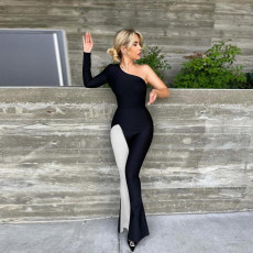 Sexy One Shoulder Long Sleeve Flared Jumpsuit CYA-9231