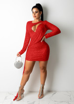 Sexy Sequin Hollow Long Sleeve Club Dress ME-Y947