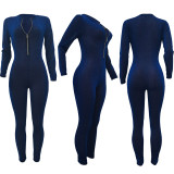 Sexy Long Sleeve Zippper Jumpsuit With Gloves AL-266
