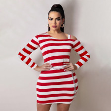 Plus Size Striped Off Shoulder Long Sleeve Mini Dress WTF-9154