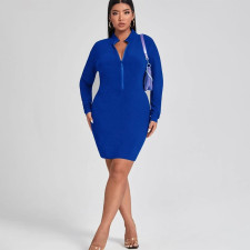 Plus Size Solid Long Sleeve Zipper Mini Dress PHF-13260