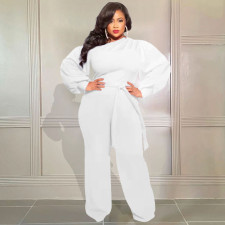 Plus Size Solid Long Sleeve Sashes Casual Jumpsuit CQF-90086