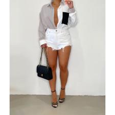 Plus Size Casual Patchwork Long Sleeve Shirt Top BLI-2503