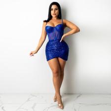 Sexy Sequin See Through Spaghetti Strap Club Dress CYA-9257
