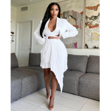 Sexy Solid Long Sleeve Irregular Pleated Skirt 2 Piece Sets BN-9304