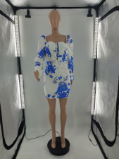 Sexy Printed Puff Sleeve Lace-Up Mini Dress CQF-90085