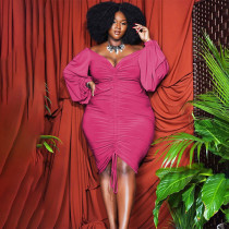 Plus Size Solid Drawstring Ruched Long Sleeve Bodycon Dress WLDF-80258