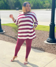 Plus Size Casual Striped Top And Pants 2 Piece Sets CTHF-9095