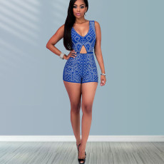 Blue Printed Sleeveless Hollow Sexy Romper LINW-W9314