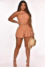 Sexy Solid One Shoulder Sleeveless 2 Piece Shorts Set LINW-W9307