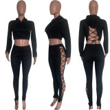 Solid Hollow Out Hoodie And Pants Two Piece Suits HMS-5496