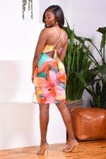 Sexy Printed Spaghetti Strap Midi Dress LINW-W9313