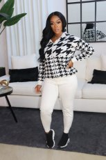 Houndstooth Print Hooded Zipper Long Sleeve 2 Piece Suits MNAF-8118