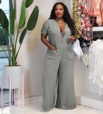 Plus Size Solid Short Sleeve Loose Jumpsuit YN-88821