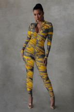 Casual Printed Long Sleeve Zipper Skinny Jumpsuit YIDF-81342