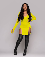 Sexy Solid Long Sleeve Split Mini Club Dress LINW-W9305