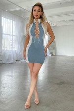 Sexy Sleeveless Lace Up Slim Mini Dress LINW-W9306