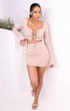 Solid Lace Up Long Sleeve Mini Skirt 2 Piece Sets LINW-W9318