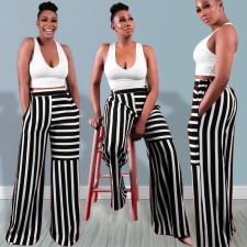 Casual Striped Mid-Waist Wide Leg Pants LINW-W9316
