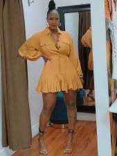 Solid Turndown Collar Long Sleeve Mini Dress OMY-80060