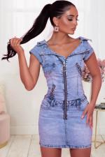 Denim Zipper Short Sleeve Slim Mini Dress LX-6918