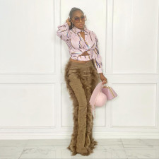 Feather Patchwork Corduroy Flared Pants MIF-9078