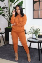 Casual Solid Plush Long Sleeve Two Piece Pants Set IV-8253
