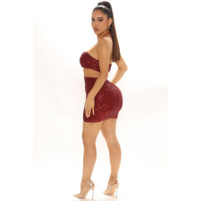 Sexy Sequin Halter Hollow Out Club Dress LDS-3293