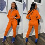 Casual Solid Long Sleeve Zipper 2 Piece Pants Set IV-8252