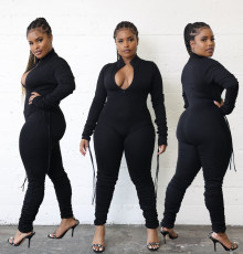 Solid Long Sleeve Drawstring Zipper Stacked Jumpsuit ZFF-57823