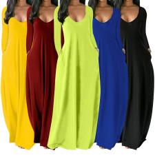 Solid Long Sleeve Loose Maxi Dress XMEF-X1137
