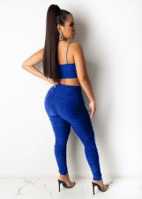 Sexy Sleeveless Ruched Two Piece Pants Set XMEF-X1095