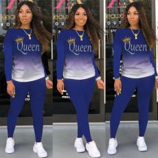 Queen Letter Gradient Long Sleeve 2 Piece Pants Set XMEF-X1081