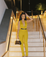 Solid Sexy Sleeveless Deep V Neck Jumpsuit Without Belt XMEF-X1104