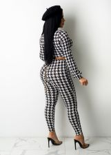 Houndstooth Print Long Sleeve Tie Up Two Piece Pants Set MZ-2670