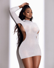 Sexy Long Sleeve Hollow Out Club Dress WXIN-024