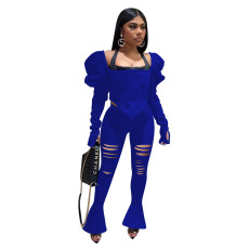 Solid Puff Sleeve Top Hole Flared Pants Two Piece Sets XMEF-X1074