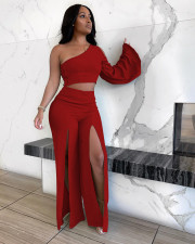 Sexy Solid One Shoulder Split Pants Two Piece Sets XMEF-X1142