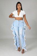 Denim Ripped Hole Ruffle Skinny Jeans Pants LA-3293