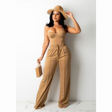 Solid Drawstring Mid-Waist Casual Pants CHY-1349