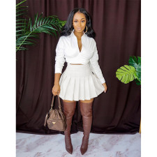 Sexy Solid V Neck Long Sleeve Mini Skirt 2 Piece Sets WXF-6618