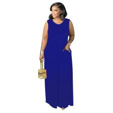 Casual Solid Sleeveless O Neck Maxi Dress XMEF-X1124
