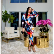 Sexy Printed Long Sleeve Maxi Dress BYMF-60086