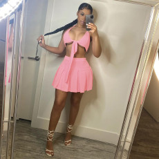 Solid Sexy Hater Pleated Mini Skirt 2 Piece Sets XMEF-X1129
