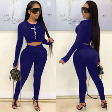 Letter Print Long Sleeve Two Piece Pants Set MNKF-8031