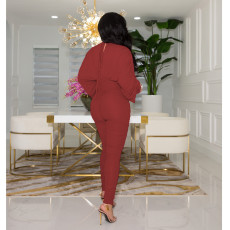 Sexy Batwing Sleeve V Neck Ruched Jumpsuit WY-6841