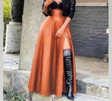 Black PU Leather High Split Maxi Skirt OLYF-6075